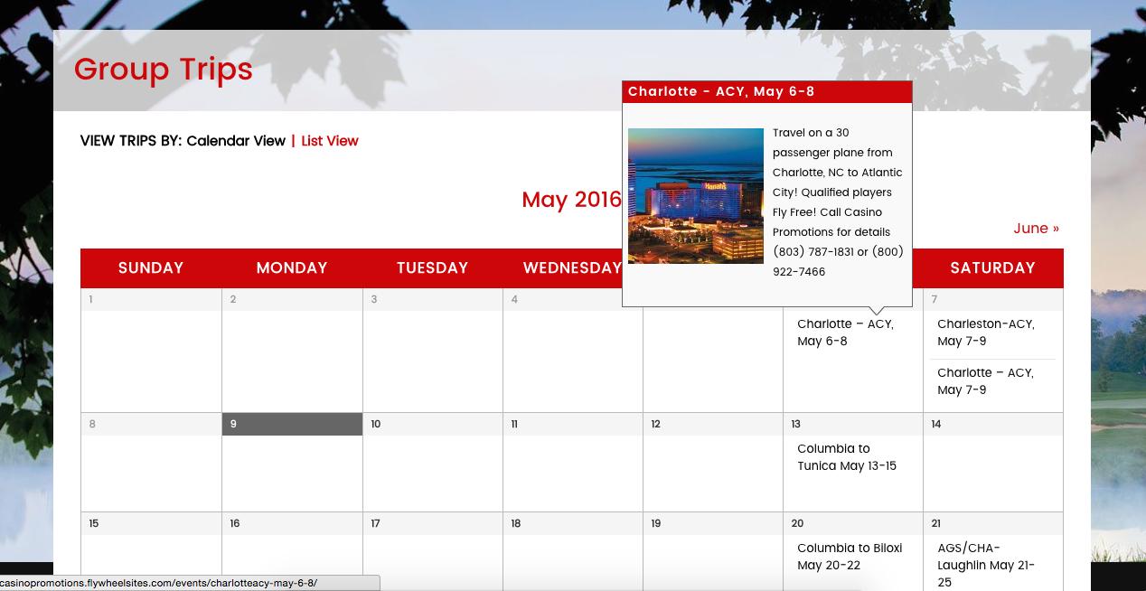 Calendar Plugin - New Website and Logo Redesign for Casino Promotions